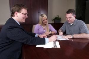 couple with a financial advisor